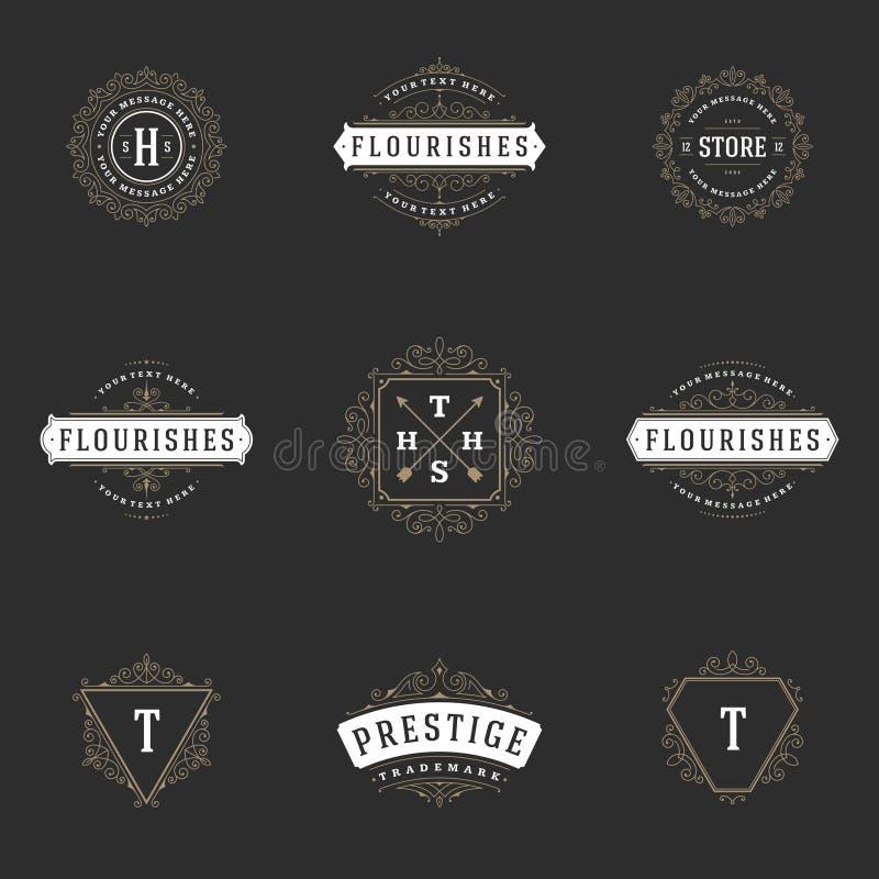 Plantillas reales del diseño de los logotipos fijadas Líneas elegantes caligráficas del ornamento del Flourish ilustración del vector