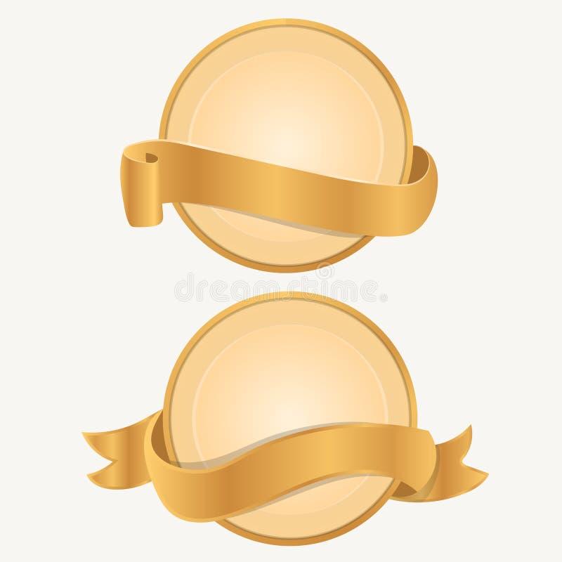 Plantillas realistas de la etiqueta del oro stock de ilustración