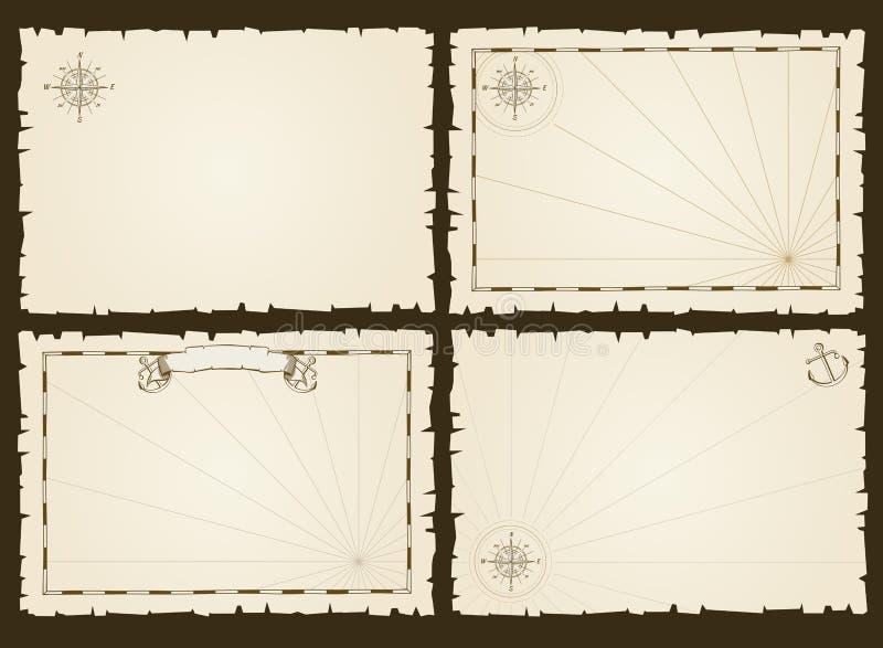 Plantillas retras de la tarjeta del pirata del vintage del partido del vector vacío de la invitación en estilo marino libre illustration