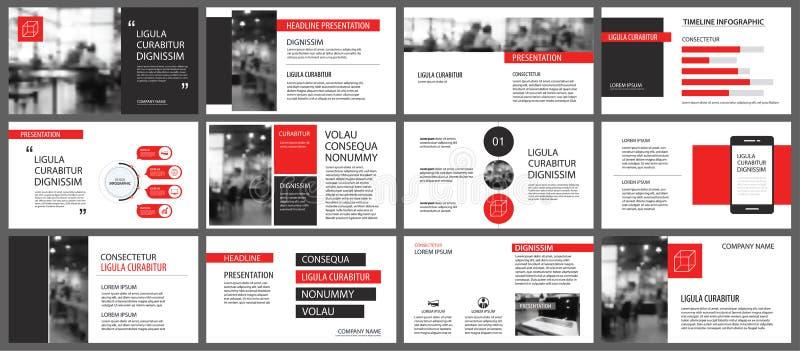 Plantillas rojas de la presentación para el fondo de la presentación Infographi stock de ilustración