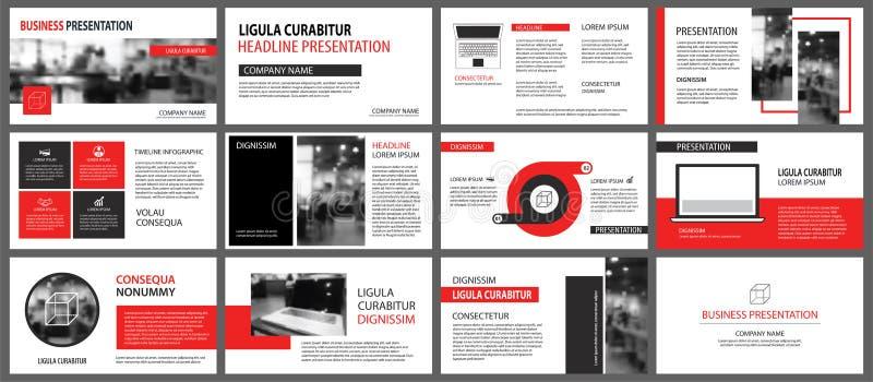 Plantillas rojas de la presentación para el fondo de la presentación Infographi ilustración del vector