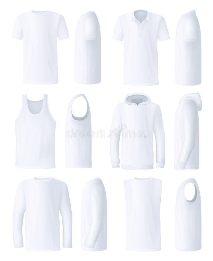 Plantillas superiores masculinas de la ropa, lado y vistas delanteras ilustración del vector