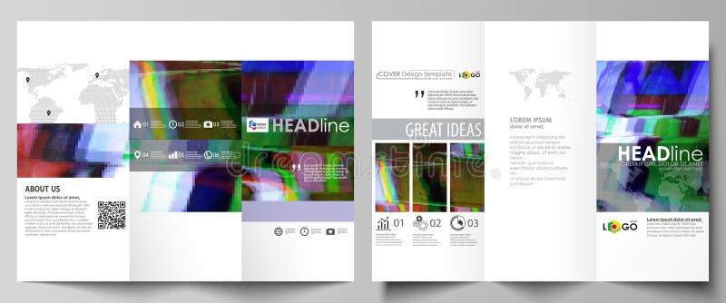 Plantillas triples del negocio del folleto en ambos lados Disposición abstracta editable fácil del vector en diseño plano Glitche stock de ilustración