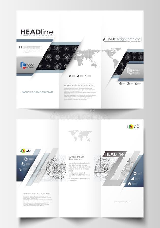 Plantillas triples del negocio del folleto en ambos lados Disposiciones editable fáciles Diseño de alta tecnología, sistema de co ilustración del vector