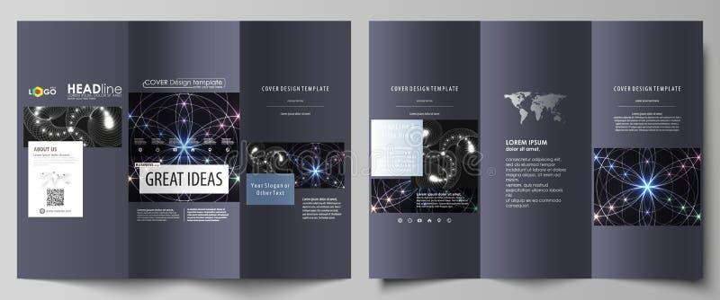Plantillas triples del negocio del folleto en ambos lados Disposición abstracta editable fácil del vector en diseño plano Geometr ilustración del vector