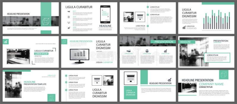 Plantillas verdes de la presentación para el CCB de los elementos del infographics de la diapositiva libre illustration