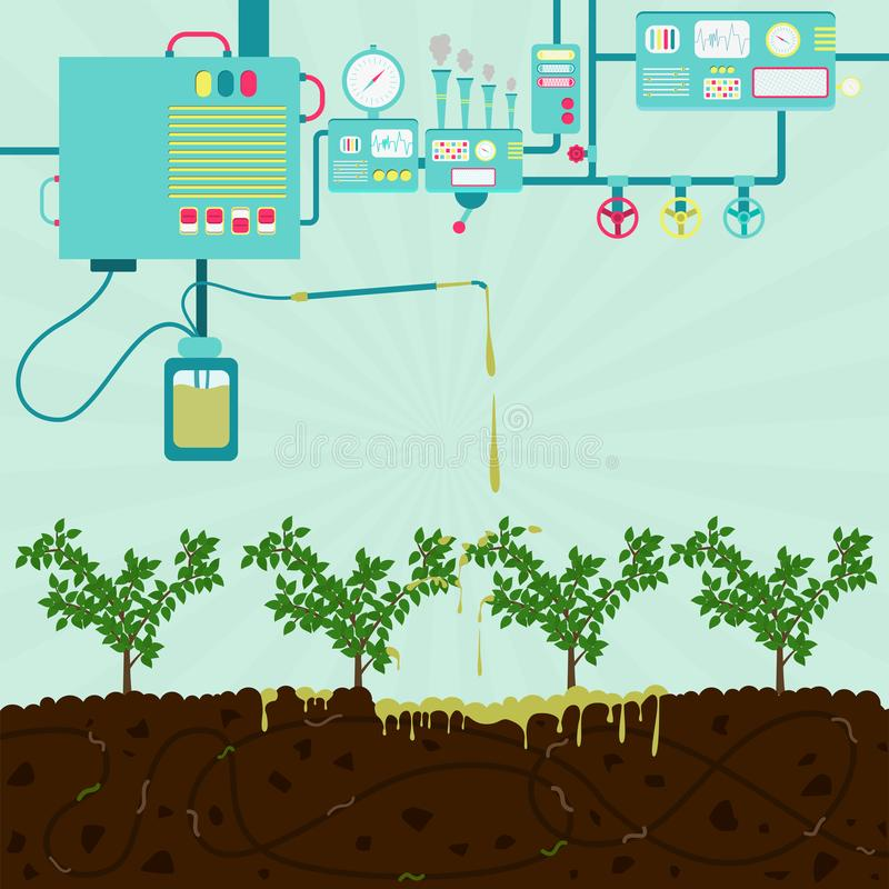 Planting chemical. Chemical plant producing toxic product. Toxic product polluting planting and soil. Composting process with organic matter, microorganisms and royalty free illustration
