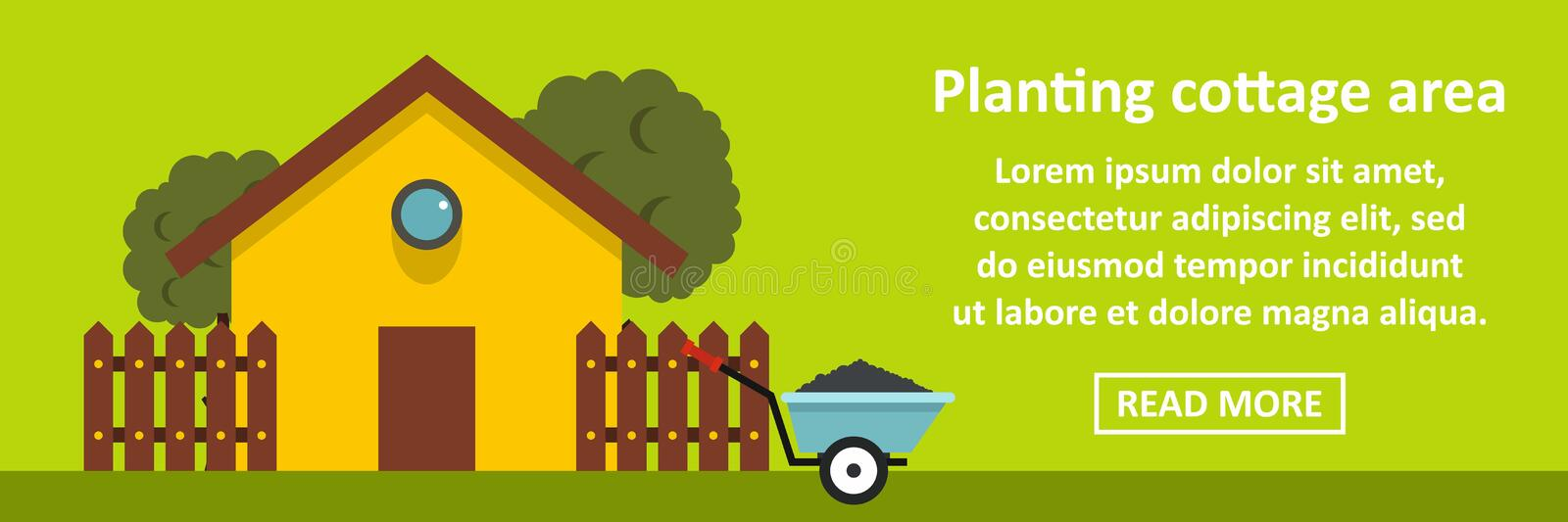 Planting cottage area banner horizontal concept. Flat illustration of planting cottage area banner horizontal vector concept for web stock illustration
