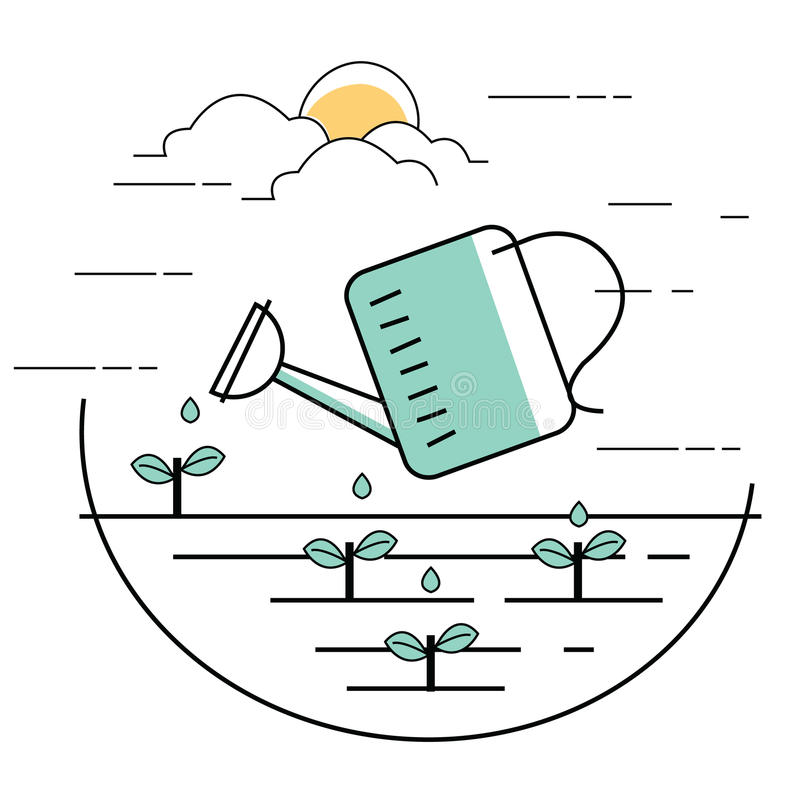Planting pouring water into plant gardening line style illustration royalty free illustration