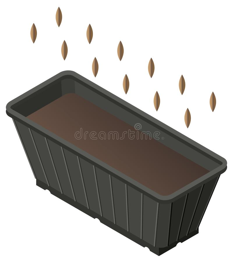 Planting seed in box with ground for seedlings. Isometric icon. Vector illustration 3d isolated vector illustration