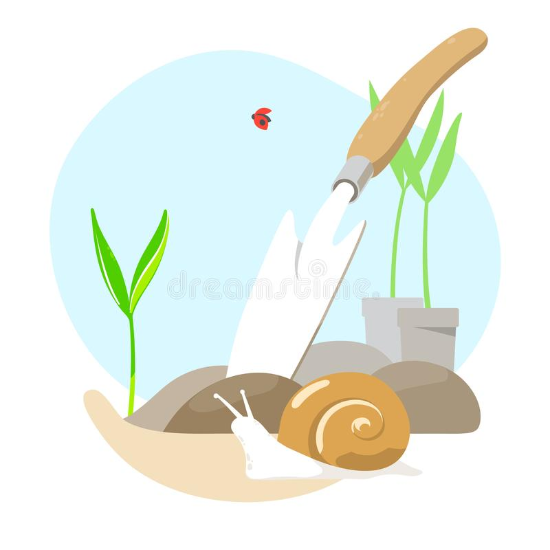 Planting sprouts in ground and shovel. Vector illustration royalty free illustration