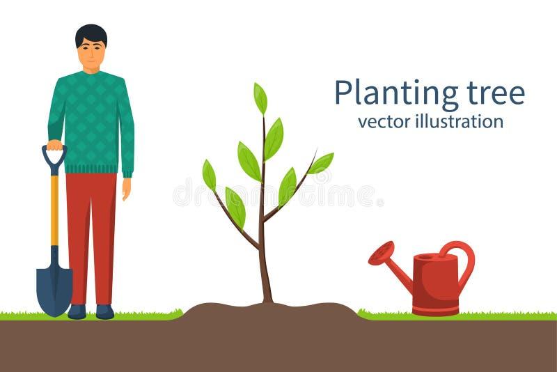 Planting tree. Gardener with shovel in hand vector illustration