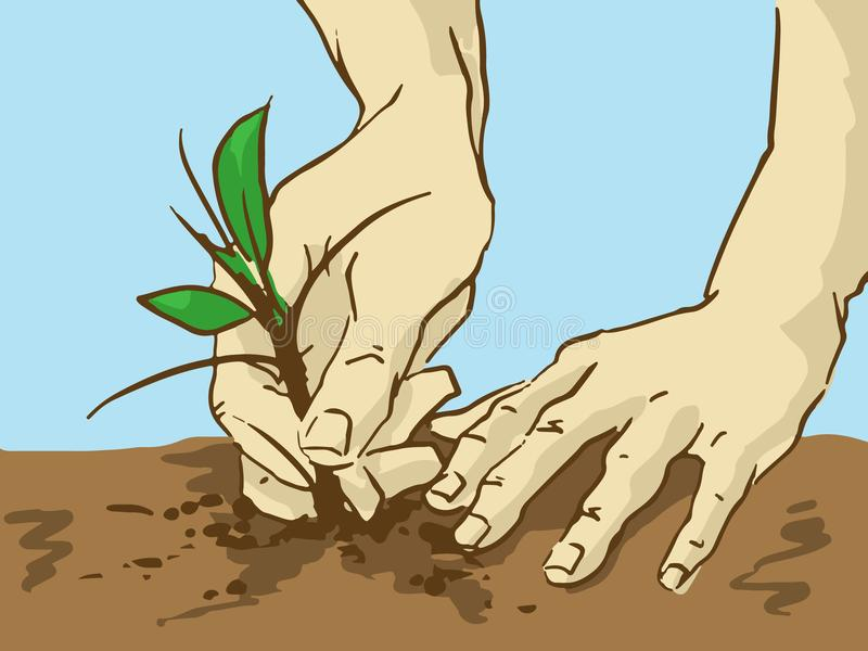 Cartoon Planting Tree. Hands Put a Sprout In The Ground vector illustration