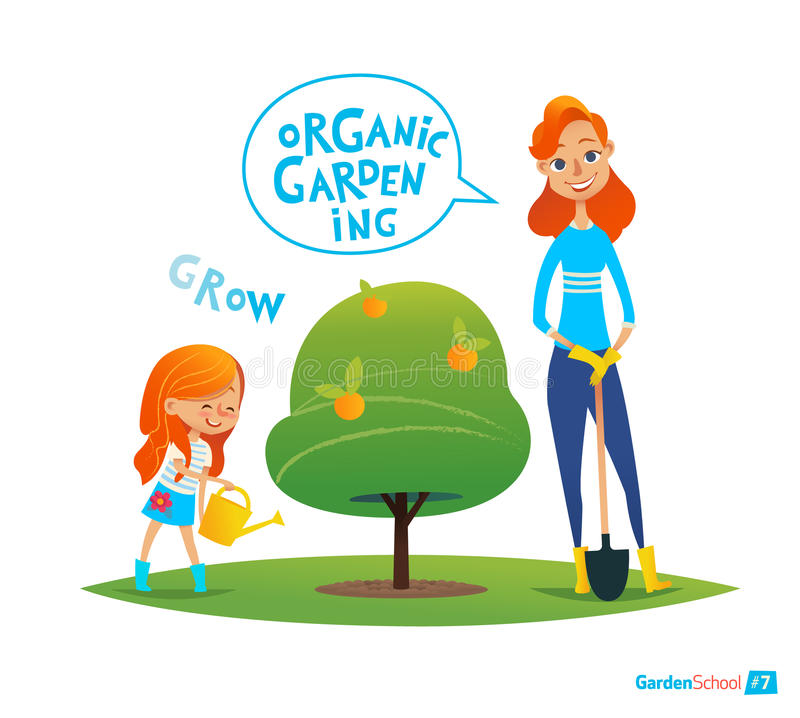 Planting tree with kids. Eco concept. Girl watering plants in the garden. Engaging in Montessori education activities. Organic gar stock illustration