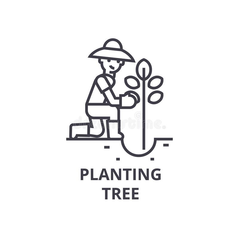 Planting tree line icon, outline sign, linear symbol, vector, flat illustration stock illustration
