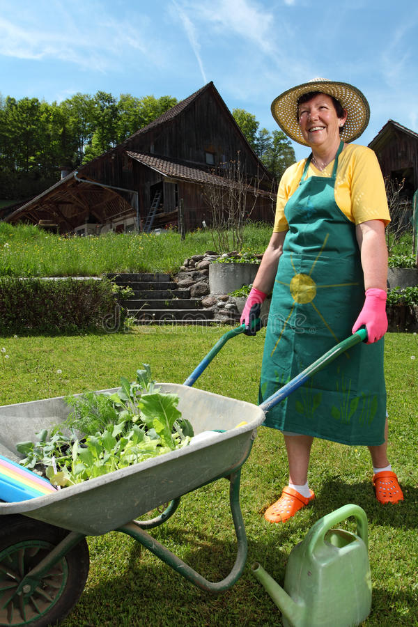Planting Vegetables In Her Garden Royalty Free Stock Photography