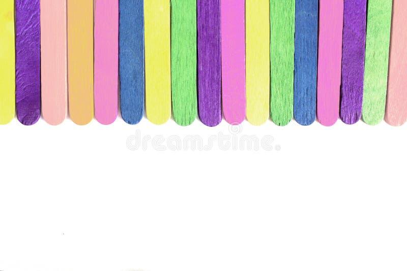 Planton placé par bâton en bois coloré de crème glacée  image stock