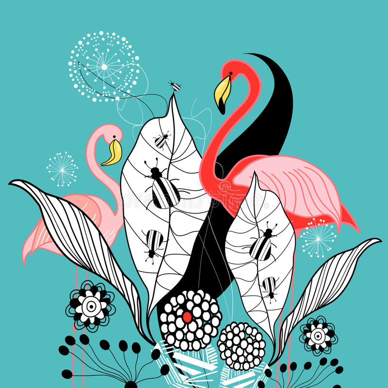 Download Plants and flamingos stock vector. Image of flamingos - 25992486