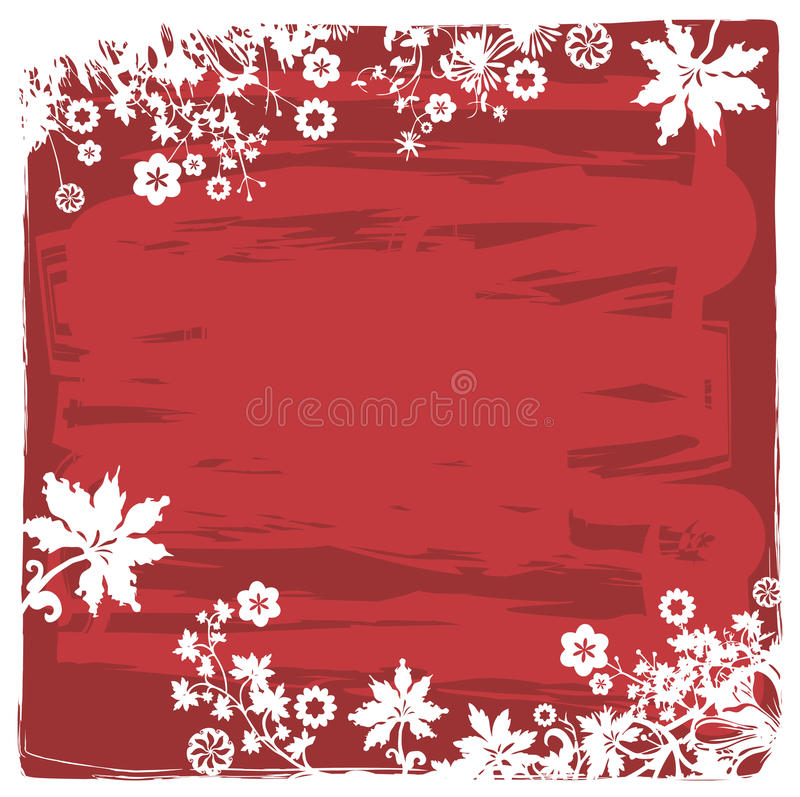 Download Plants And Flowers Background In Red Stock Vector - Image: 18556199