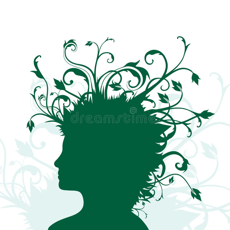 Plants growing from human head stock illustration
