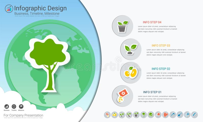 Plants growing timeline infographics with icons set. Plants growing timeline infographics with icons set, Save the world and go green concept or Green business vector illustration