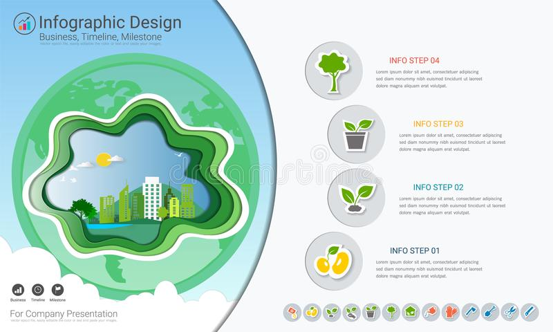 Plants growing timeline infographics with icons set. Plants growing timeline infographics with icons set, Save the world and go green concept or Green business royalty free illustration