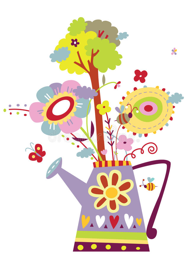 Download Plants Growing In Watering Can Stock Vector - Image: 15097960