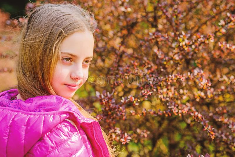 Plants grown for display to public. Girl walk in botanical garden. Peaceful environment garden. Enjoying nature. Kid royalty free stock photography