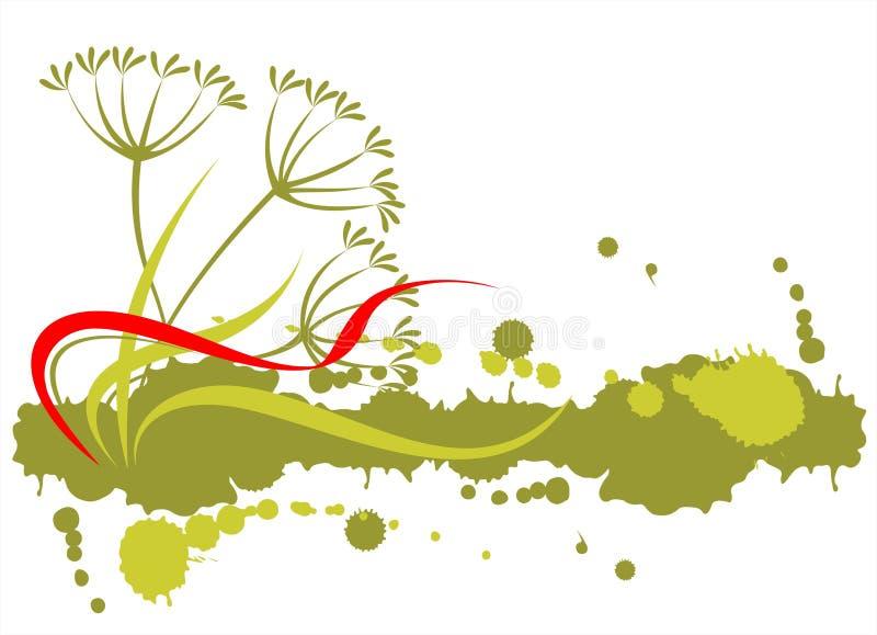 Plants and grunge pattern stock illustration