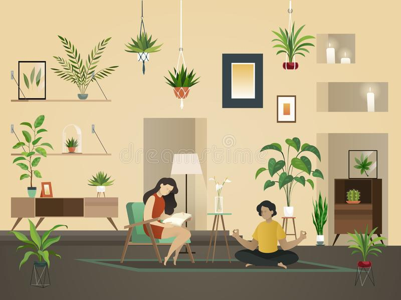 Plants at home indoor. Urban garden with green planting and people in room interior vector illustration. royalty free illustration