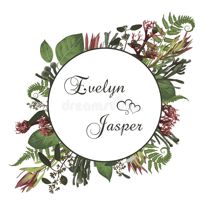 Plants, leaves, branches, brunia, blooming eucalyptus, leucadendron, gaultheria, salal, jatropha vector design frame.Wedding,. Watercolor seasonal flower card stock illustration
