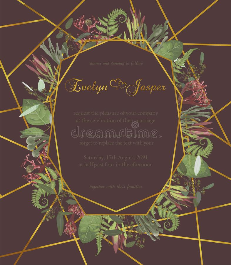 Plants, leaves, branches, brunia, blooming eucalyptus, leucadendron, gaultheria, salal, jatropha vector design gold frame.Wedding. Plants leaves branches brunia vector illustration