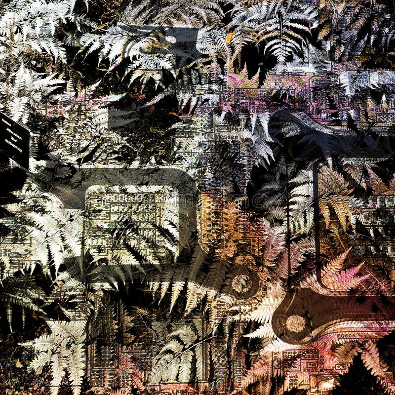 Plants merging with computer parts. Abstract pattern background. The inside of a laptop. royalty free stock photos