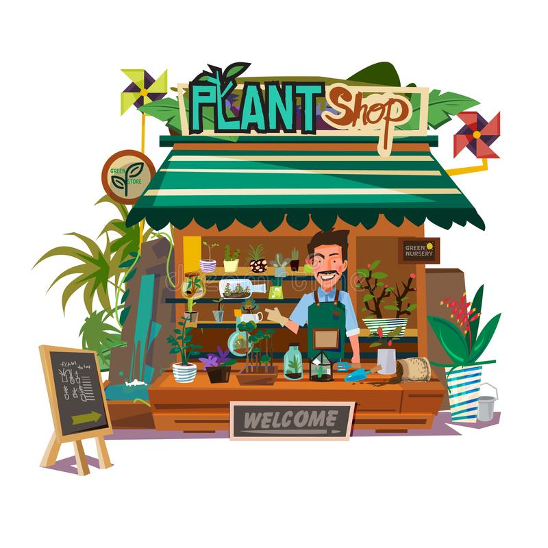 Plants shop with florist man -. Illustration stock illustration