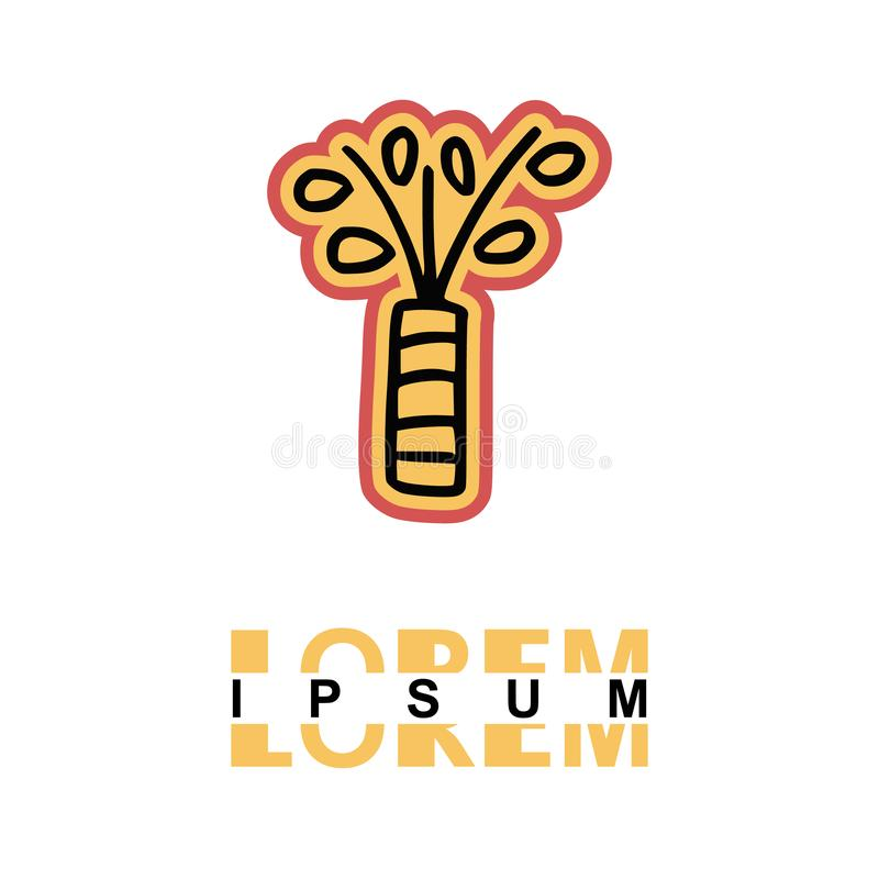 Plants in a vase logo in cartoon images on paper. can be applied to various media either paper or plastic. This plants in a vase. Logo with orange and pink royalty free illustration