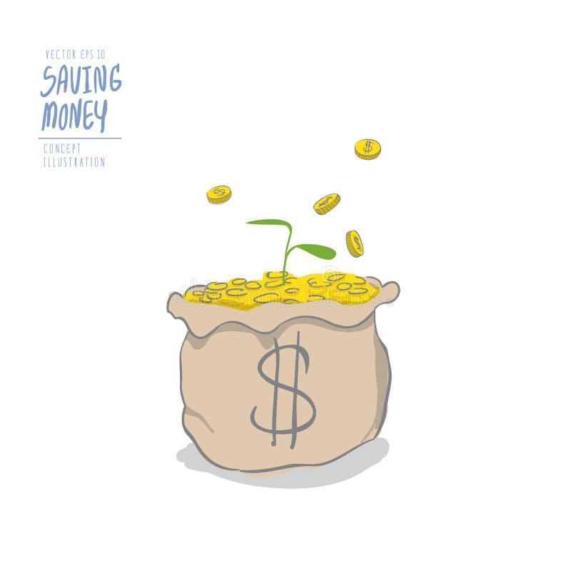 Plantula su un mucchio delle monete nella caduta delle monete e della borsa illustrazione di stock