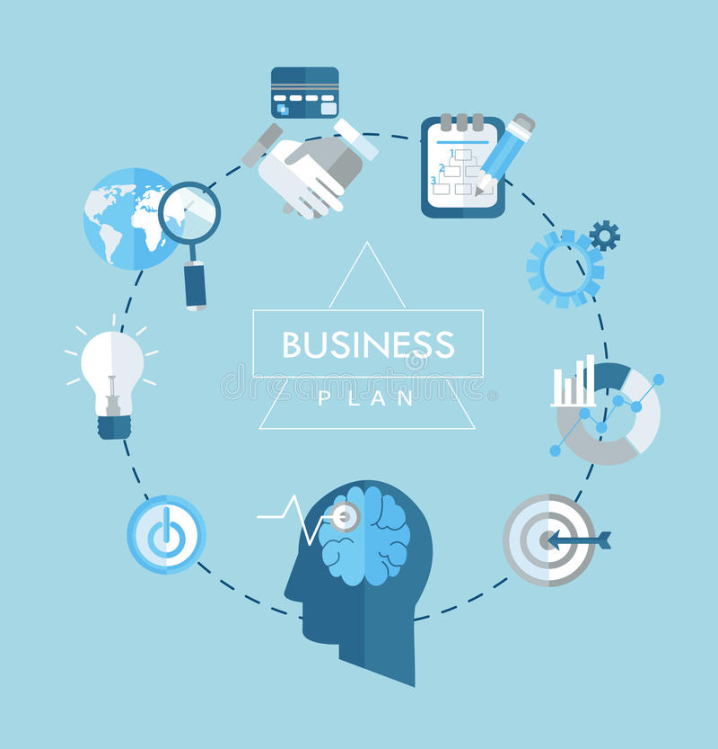 Planu biznesowego pojęcia płaskie ikony ilustracyjne ilustracja wektor