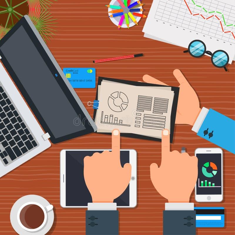 Planu biznesowego zarządzania strategii wektor Pojęcie pracy zespołowej ikony biurowy symbol Sukcesu projekta drużynowy początkow ilustracji