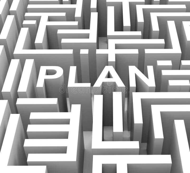 Planu słowo Pokazuje przewodnictwo Lub Biznesowego planowanie royalty ilustracja