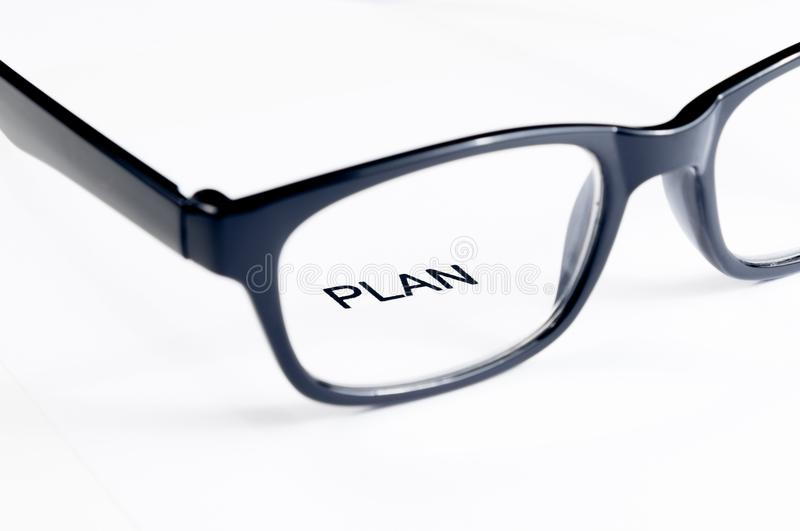 Planu słowo widzii szkło obiektyw, biznesowy pojęcie obraz royalty free