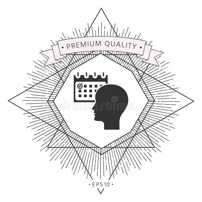 Planujący, czasu zarządzanie, osoba z kalendarzem - ikona ilustracji
