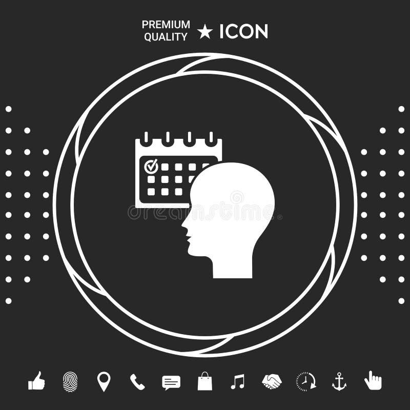 Planujący, czasu zarządzanie, osoba z kalendarzem - ikona Graficzni elementy dla twój designt ilustracja wektor