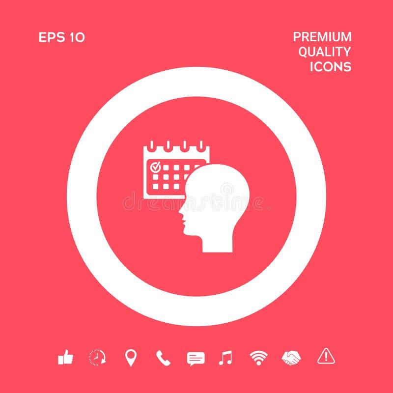 Planujący, czasu zarządzanie, osoba z kalendarzem - ikona Graficzni elementy dla twój projekta royalty ilustracja