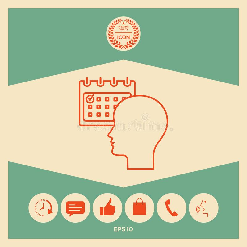 Planujący, czasu zarządzanie, osoba z kalendarzem - kreskowa ikona ilustracji