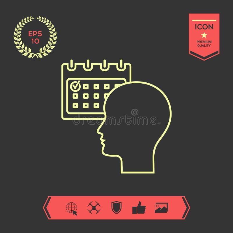 Planujący, czasu zarządzanie, osoba z kalendarzem - kreskowa ikona ilustracja wektor