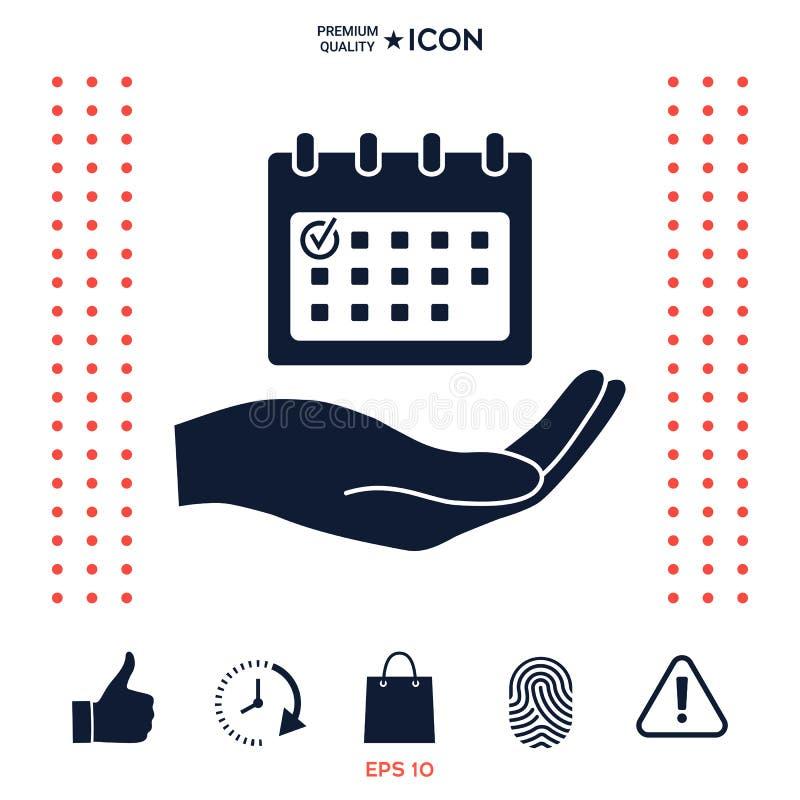 Planujący, czasu zarządzanie, ręki mienia kalendarza ikona ilustracji