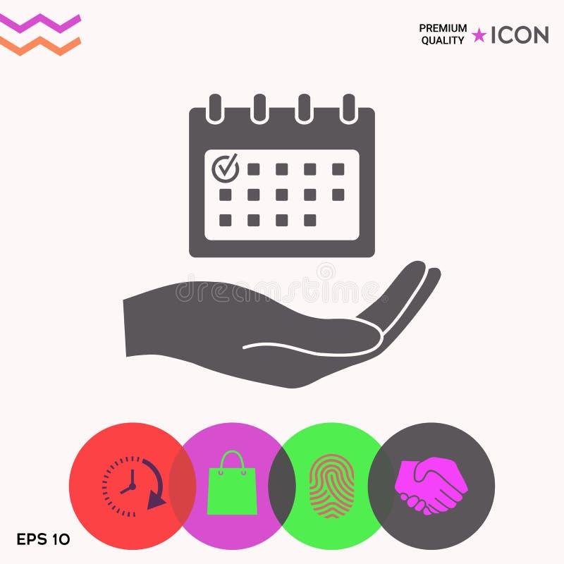 Planujący, czasu zarządzanie, ręki mienia kalendarza ikona ilustracja wektor