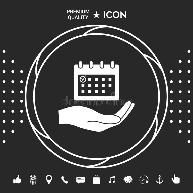 Planujący, czasu zarządzanie, ręki mienia kalendarza ikona Graficzni elementy dla twój designt ilustracji