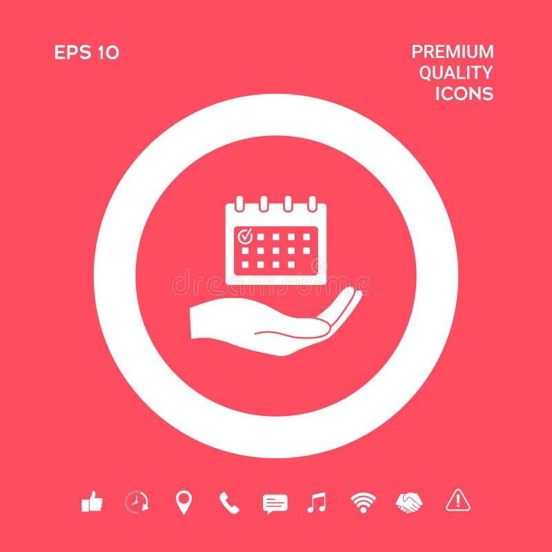 Planujący, czasu zarządzanie, ręki mienia kalendarza ikona Graficzni elementy dla twój projekta ilustracja wektor