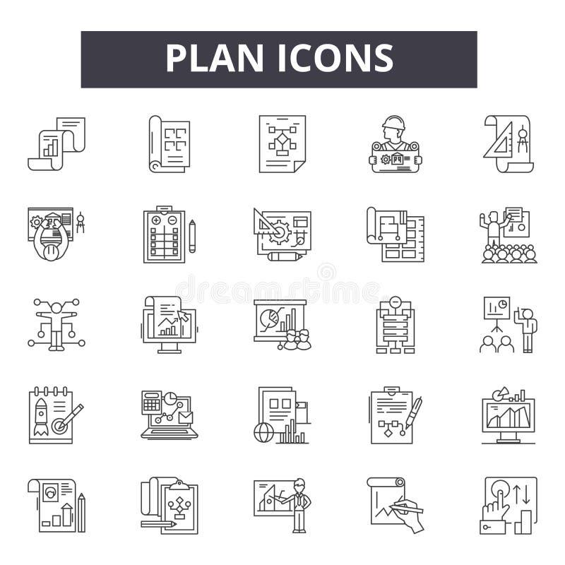 Planuje kreskowe ikony, znaki, wektoru set, kontur ilustracji pojęcie ilustracja wektor